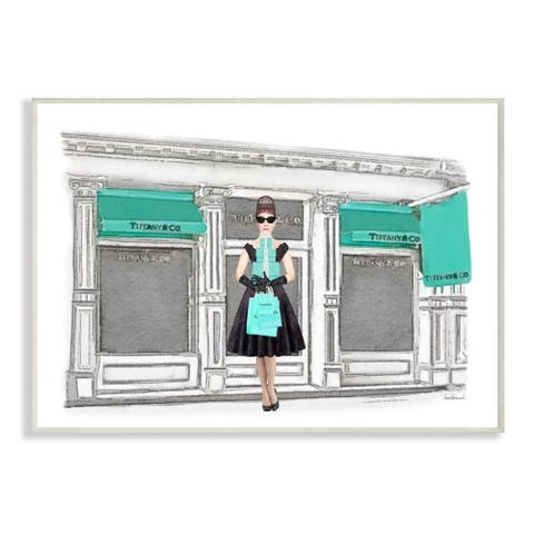 Stupell Industries Fashion Building Woman Shopper Blue Glam Watercolor Design Wood Wall Art