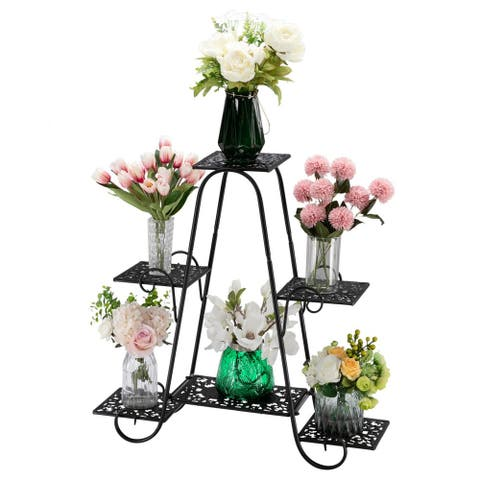 6 Multilayer Potted Plant Stand Metal Shelf Planters Display Rack