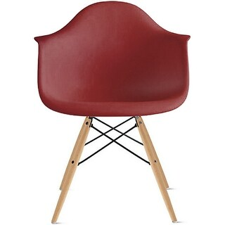 2xhome Maroon Eames Dining Room Arm Chair With Natural Wood Eiffel Style Legs