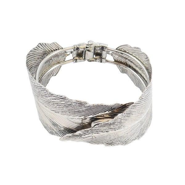 Hinged Bangle Bracelet Edged Leaf Shape Design, Silver