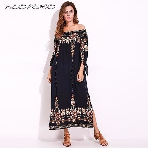 Boho Style Off Shoulder Women Long Dress 2017 Floral Print Beach Summer  Dress Vintage Chiffon Maxi Dress Elegant Plus Size 5Xl