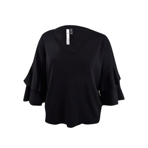 NY Collection Women's Plus Size Ruffled Bell-Sleeve Sweater(2X, Black) - Black - 2X