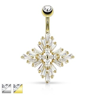 Princess Cut CZ Set Diamond Cross Navel Ring
