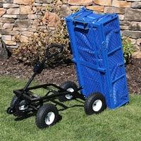Sunnydaze Dumping Utility Cart with Folding Sides and Liner Set - Blue
