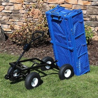 Sunnydaze Dumping Utility Cart with Folding Sides and Liner Set - Blue