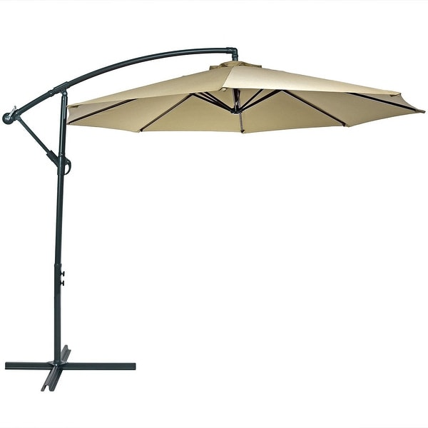 Superb Sunnydaze Steel 10 Foot Offset Patio Umbrella With Cantilever, Crank, And  Cross Base