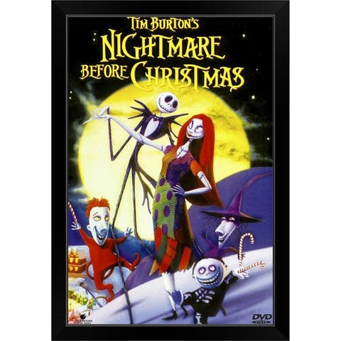 """Tim Burtons The Nightmare Before Christmas (1993)"" Black Framed Print"