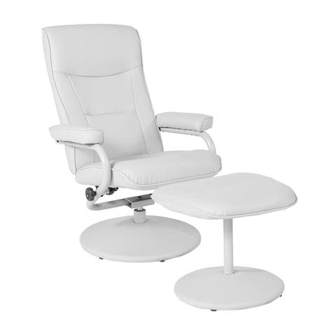 Offex Chelsea Contemporary Swivel Recliner and Ottoman in White Vinyl