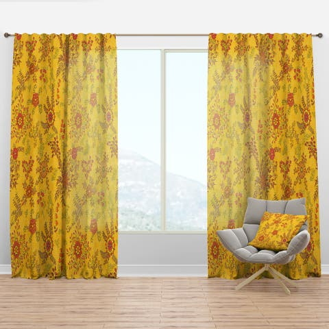 Designart 'Colorful Botanic Texture' Bohemian & Eclectic Curtain Panel