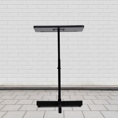 Adjustable Height Slanted Top Metal Lectern in Mahogany