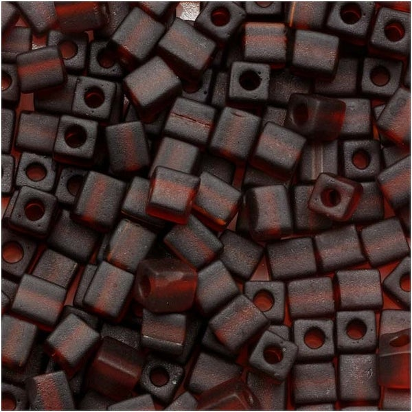 Miyuki 4mm Glass Cube Beads Transparent Frosted Dark Amber 134F 10 Grams