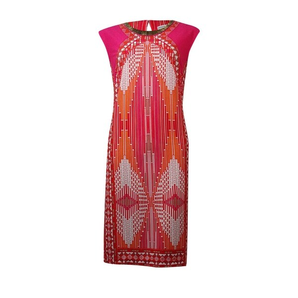 556d506e49 Shop Sandra Darren Women s Neckline Metal Embellished Printed Dress -  poppy pink - 10P - On Sale - Free Shipping On Orders Over  45 -  Overstock.com - ...