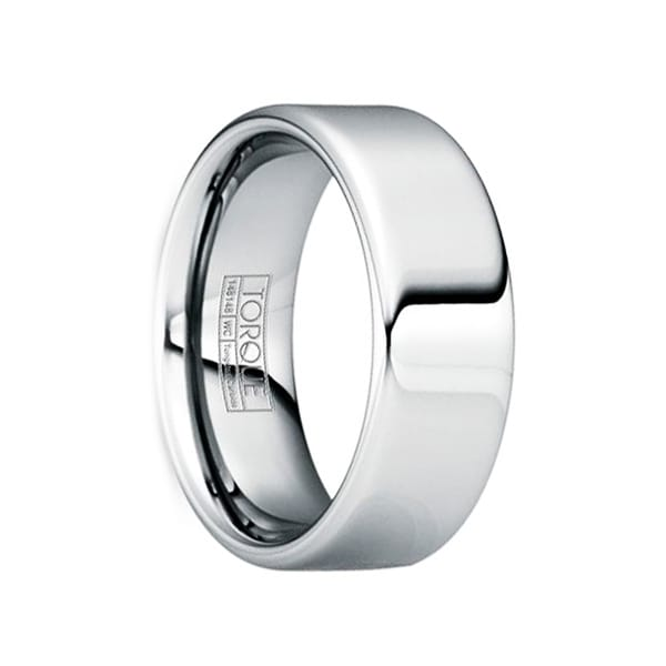 PLINIUS Polished Tungsten Carbide Comfort Fit Wedding Ring by Crown Ring
