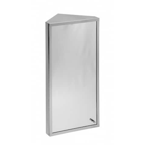 Corner Wall Mount Mirror Medicine Cabinet Polished Stainless Steel Organizer Shelves With Screws Included Renovators Supply