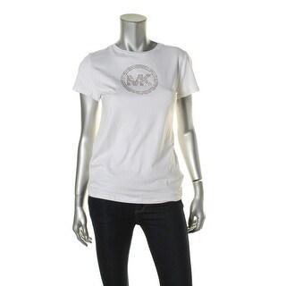 Michael Kors Womens Embellished Circle Logo T-Shirt