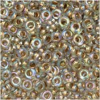 Toho Demi Round Seed Beads, Thin 8/0 (3mm) Size, 7.4 Grams, 994 Gold Lined Rainbow Crystal