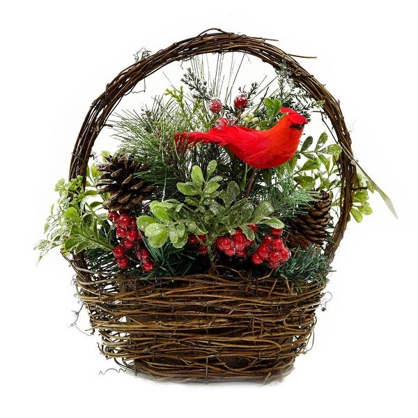 """12"""" Red Cardinal with Berries and Foliage in Twig Basket Christmas Decoration - brown"""