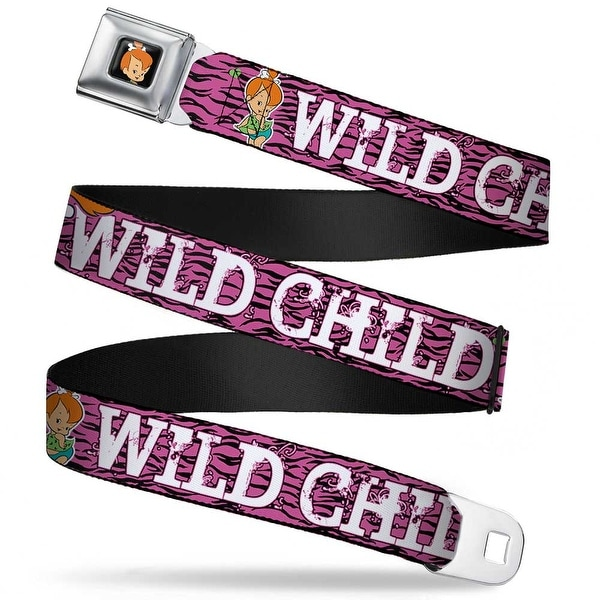 Pebbles Face1 Full Color Black Pebbles Face Pose Wild Child Pink Black Seatbelt Belt