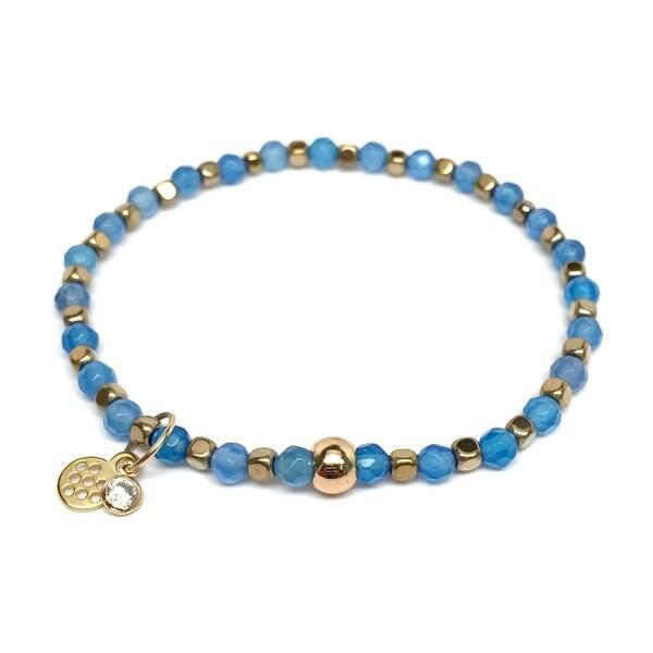 """Light Blue Quartz Friendship 7"""" Bracelet"""