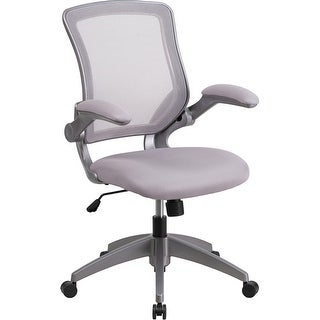 Silkeborg Mid-Back Gray Mesh Swivel Home/Office Task Chair w/Flip-Up Arms