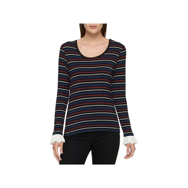 da69fc037 Shop Tommy Hilfiger Womens Casual Top Striped Ruffle Sleeve - Free Shipping  On Orders Over  45 - Overstock - 22727015