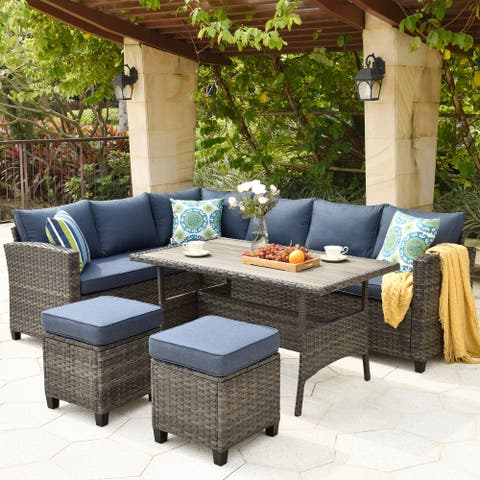Ovios Patio Furniture Sets 5-piece Rattan Wicker Chair Sectional Sofa Set With Table Ottoman