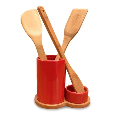 Utensil Holder and Spoon Rest with Bamboo Utensils - 7.0 in. x 4.0 in. x 6.0 in.