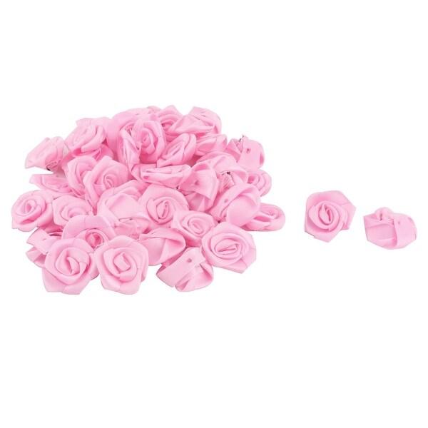 Satin Rose Appliques Craft Decor DIY Wedding Ornament Ribbon Flowers Pink 40pcs