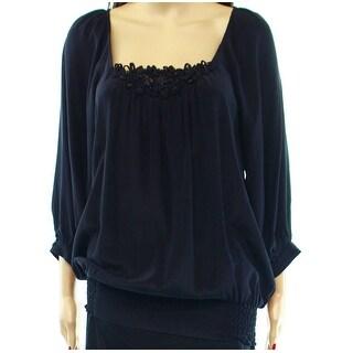 Karen Kane NEW Black Soutache Women's Medium M Ruched Blouse Silk