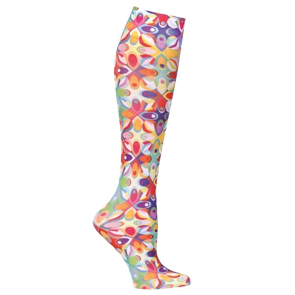 Celeste Stein Women's Mild Compression Knee High Stockings - Abstract Colors - Medium