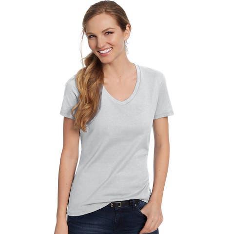 Hanes Women's Nano-T® V-Neck T-Shirt - Color - Ash - Size - 3XL