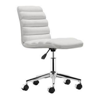 Office Chair White - Leatherette Chromed Steel