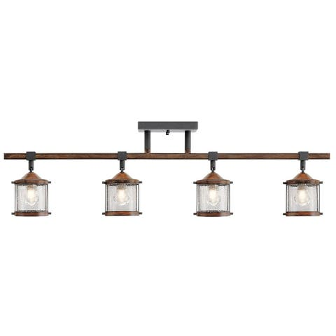 Aztec 4-light Distressed Black/ Aged Wood Flush Mount Fixture