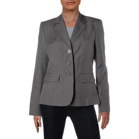 Le Suit Womens Three-Button Blazer Woven Office