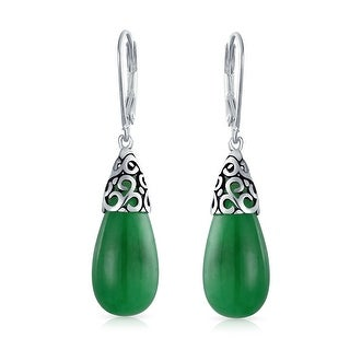 Natural Dyed Green Jade Teardrop 925 Sterling Silver Leverback Earrings Filigree Style Drops