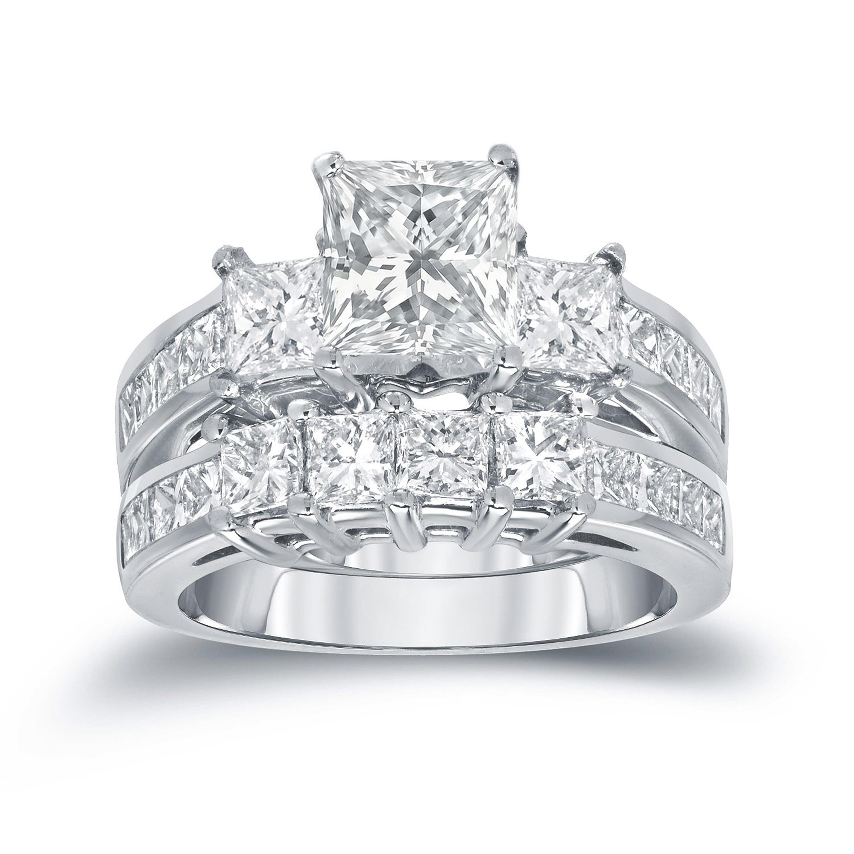 14k Silver Created Sapphire Half Eternity Band Ring Princess Cut Bridal Sets Wedding Rings