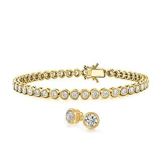 Bling Jewelry Round CZ Tennis Bracelet Stud earrings Set Gold Plated