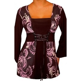 Funfash Plus Size Corset Style Black Purple Womens Top Shirt Blouse