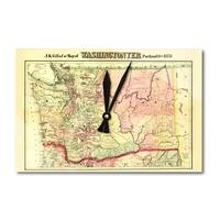 Washington State Panoramic Map - 1878 (Acrylic Wall Clock) - acrylic wall clock