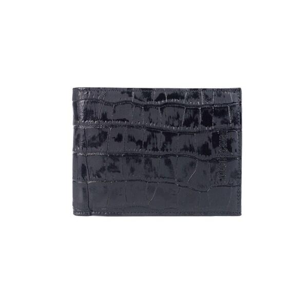 Roberto Cavalli Mens Croc Embossed Black Leather Wallet - M