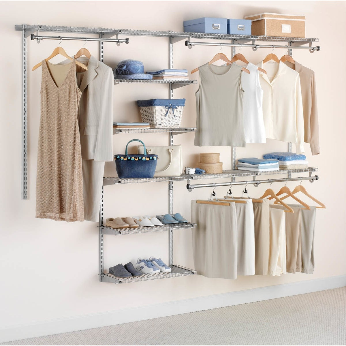 Rubbermaid Fg3h8900 Adjustable Wall Mounted Closet System With 6 Shelves Titanium