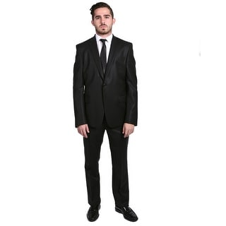 Versace Men's Solid Two-piece Wool cotton Suit. Black