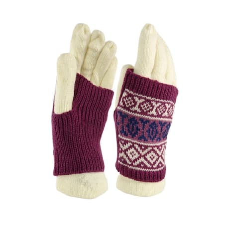 American Rag Women's Tribal Print Two Piece Knit Gloves (One Size, Ivory) - Ivory - One Size Fits Most
