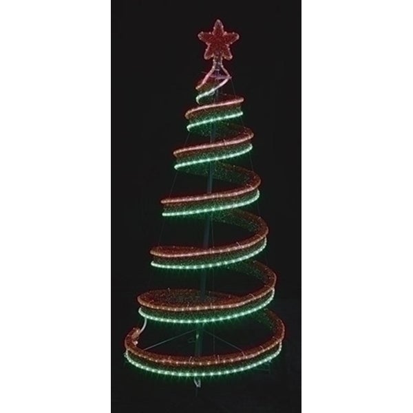 4 led green and red spiral ribbon christmas tree with star yard art - Spiral Christmas Tree Led