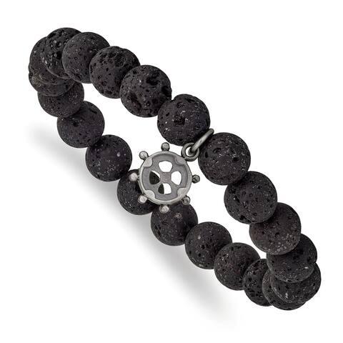 Chisel Stainless Steel Brushed GunMetal IP-plated Lava Stone Ship's Wheel Stretch Slip On Bracelet
