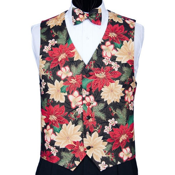 Christmas Vest.Red And Peach Poinsettia Christmas Vest
