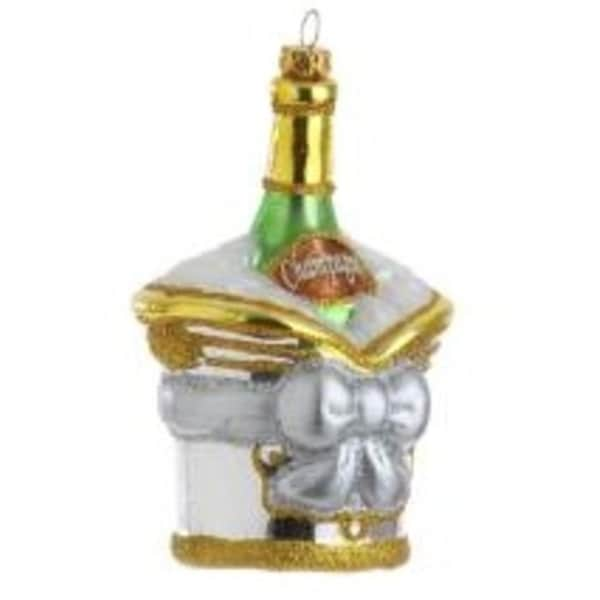 """5.5"""" Happy Hour Champagne in Ice Bucket Christmas Ornament"""
