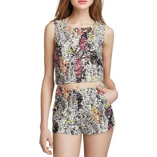 JOA Womens Crop Top Textured Embellished