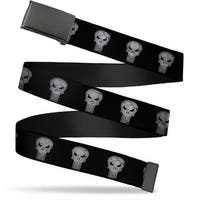 Marvel Universe Blank Black  Buckle Stone Punisher Logo Black Gray Web Belt