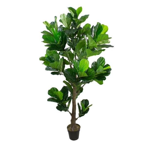 74 Dark Green Artificial Fiddle Leaf Fig Potted Tree - N/A